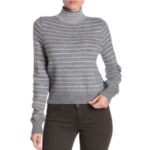 Do and be gray striped sweater mock neck gray new